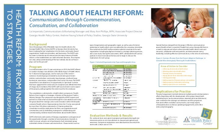 TALKING ABOUT HEALTH REFORM:TO STRATEGIES, A VARIETY OF PERSPECTIVESHEALTH REFORM: FROM INSIGHTS                          ...