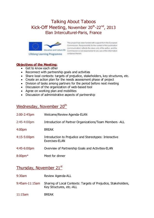 Talking About Taboos Kick-Off Meeting, November 20th -22nd , 2013 Elan Interculturel-Paris, France Objectives of the Meeti...