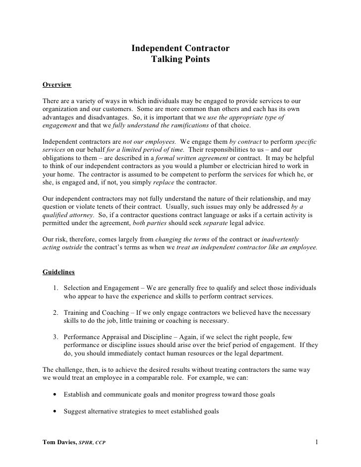 Talking Points For Contractors