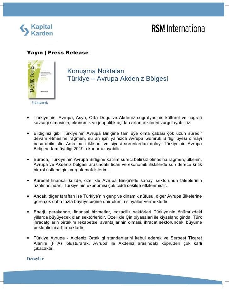 Yayın   Press Release                        Konuşma Noktaları                      Türkiye – Avrupa Akdeniz Bölgesi      ...