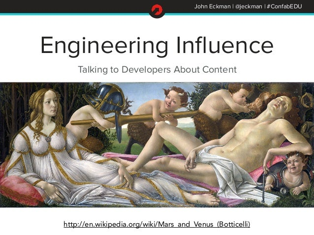 John Eckman | @jeckman | #ConfabEDU  Engineering Influence  Talking to Developers About Content  http://en.wikipedia.org/w...