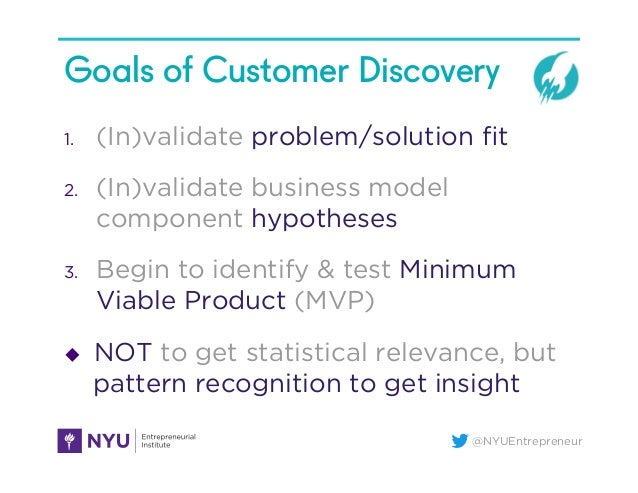 @NYUEntrepreneur Goals of Customer Discovery 1. (In)validate problem/solution fit 2. (In)validate business model componen...
