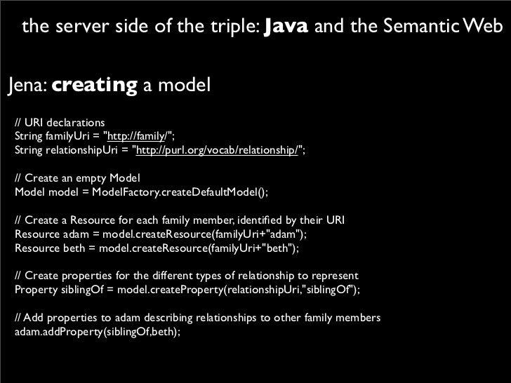 "the server side of the triple: Java and the Semantic Web  Jena: creating a model // URI declarations String familyUri = ""h..."