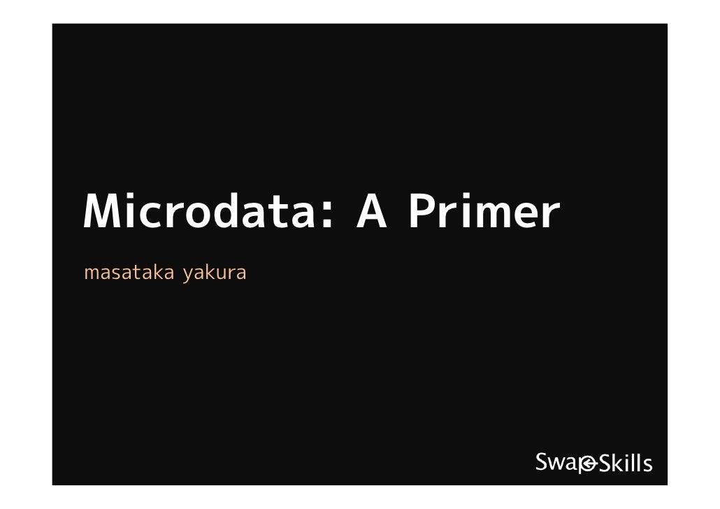 Microdata: A Primer masataka yakura
