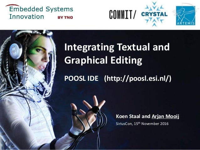 POOSL IDE (http://poosl.esi.nl/) Koen Staal and Arjan Mooij SiriusCon, 15th November 2016 Integrating Textual and Graphica...