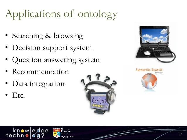 Applications of ontology  •Searching & browsing  •Decision support system  •Question answering system  •Recommendation  •D...