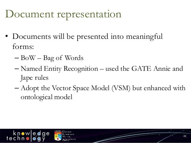 Document representation  •Documents will be presented into meaningful forms:  –BoW–Bag of Words  –Named Entity Recognition...