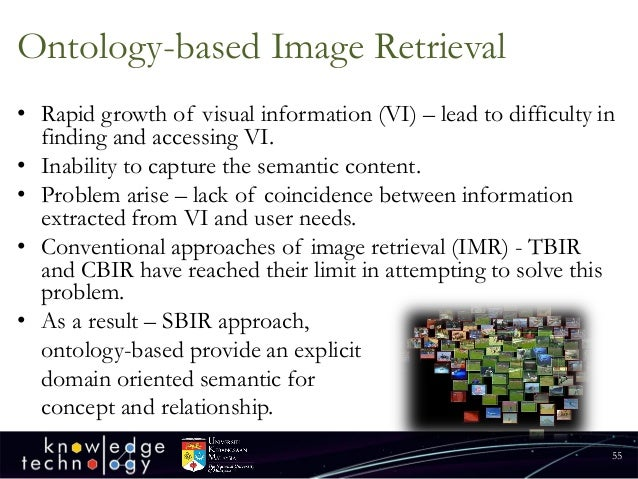 Ontology-based Image Retrieval  •Rapid growth of visual information (VI) –lead to difficulty in finding and accessing VI. ...