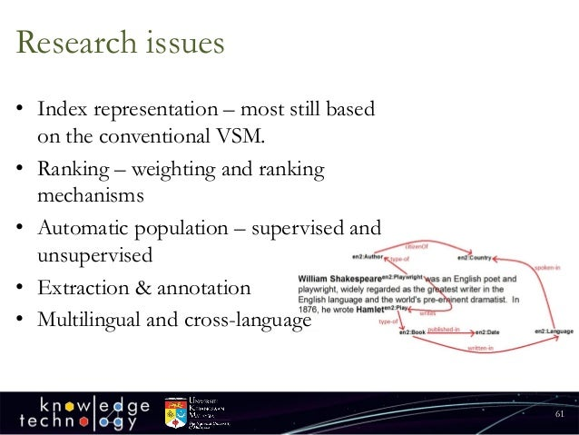 Research issues  •Index representation –most still based on the conventional VSM.  •Ranking –weighting and ranking mechani...