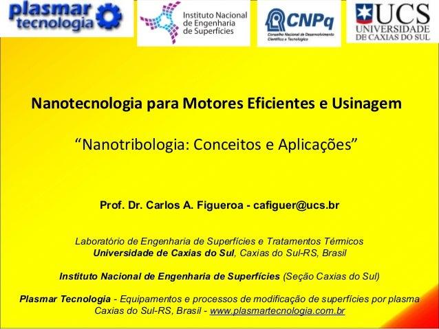 """Nanotecnologia para Motores Eficientes e Usinagem """"Nanotribologia: Conceitos e Aplicações"""" Prof. Dr. Carlos A. Figueroa - ..."""