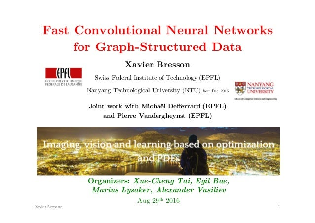 """Fast Convolutional Neural Networks ! for Graph-Structured Data! Xavier Bresson! !""""#$%&'(&%))*+' ,' Swiss Federal Institute..."""