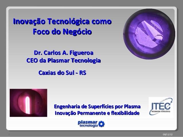 Inovação Tecnológica como         Foco do Negócio         Dr. Carlos A. Figueroa       CEO da Plasmar Tecnologia          ...