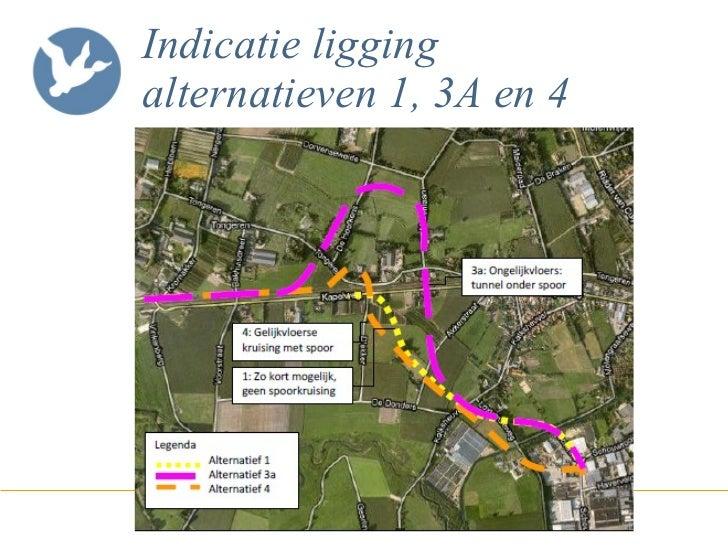 Indicatie ligging alternatieven 1, 3A en 4