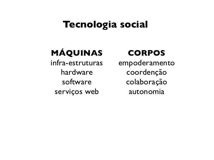 Tecnologia socialMÁQUINAS             CORPOSinfra-estruturas   empoderamento    hardware         coordenção    software   ...
