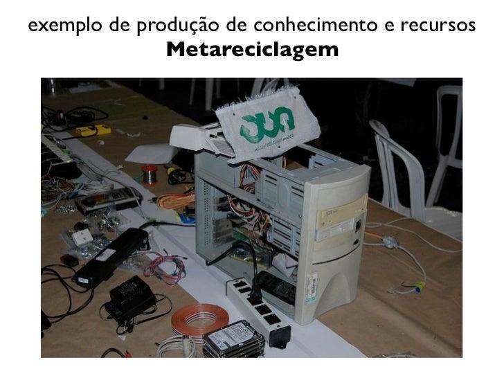 exemplo de produção de conhecimento e recursos              Metareciclagem