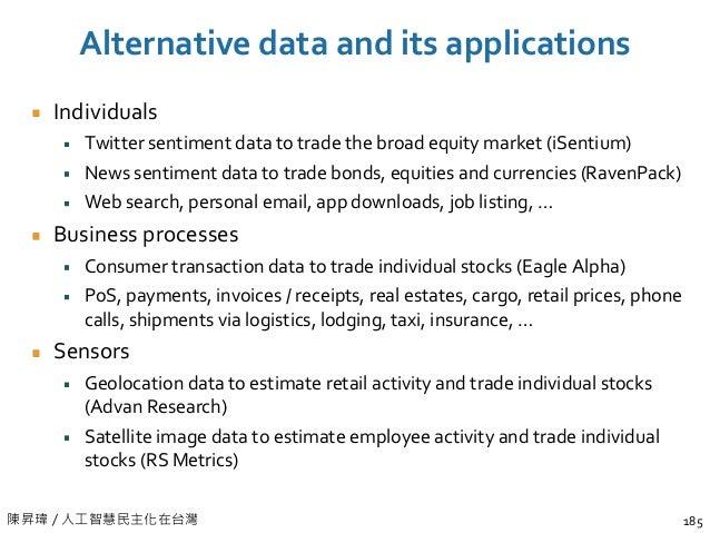 陳昇瑋 / 人工智慧民主化在台灣 Alternative data and its applications Individuals Twitter sentiment data to trade the broad equity market...