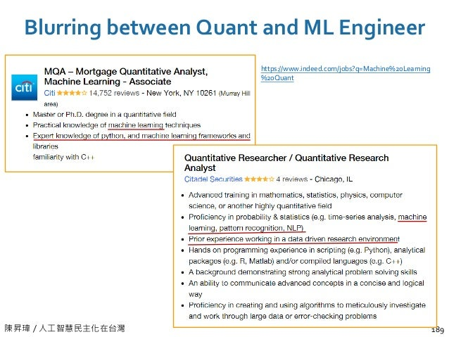 陳昇瑋 / 人工智慧民主化在台灣 Blurring between Quant and ML Engineer 189 https://www.indeed.com/jobs?q=Machine%20Learning %20Quant