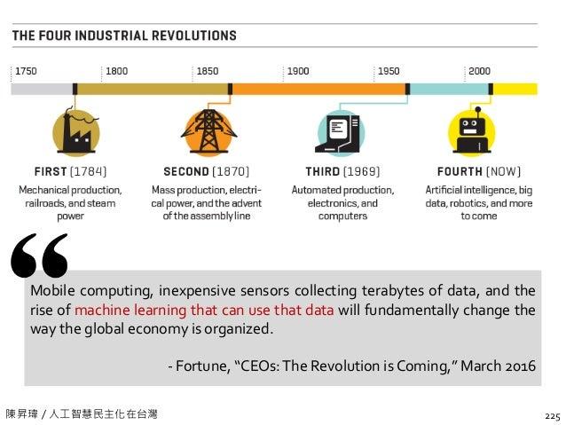 陳昇瑋 / 人工智慧民主化在台灣 225 Mobile computing, inexpensive sensors collecting terabytes of data, and the rise of machine learning ...