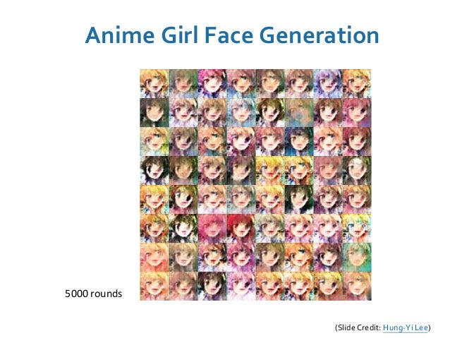 5000 rounds (Slide Credit: Hung-Yi Lee) Anime Girl Face Generation