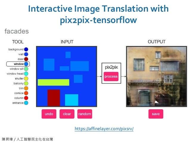 陳昇瑋 / 人工智慧民主化在台灣 Interactive Image Translation with pix2pix-tensorflow https://affinelayer.com/pixsrv/