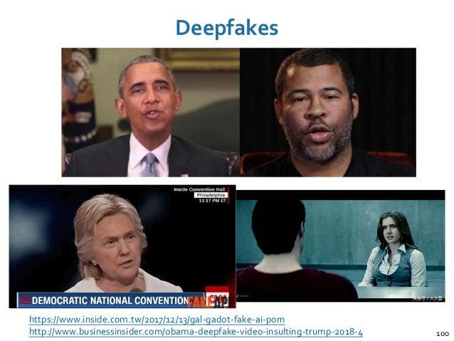 Deepfakes 100 https://www.inside.com.tw/2017/12/13/gal-gadot-fake-ai-porn http://www.businessinsider.com/obama-deepfake-vi...