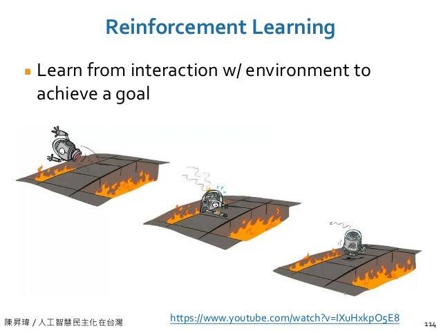 陳昇瑋 / 人工智慧民主化在台灣 Learn from interaction w/ environment to achieve a goal Reinforcement Learning 114 https://www.youtube.co...