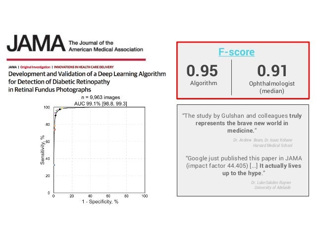 """0.95 F-score Algorithm Ophthalmologist (median) 0.91 """"The study by Gulshan and colleagues truly represents the brave new w..."""