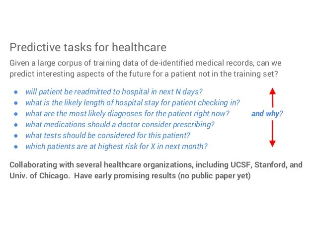 Predictive tasks for healthcare Given a large corpus of training data of de-identified medical records, can we predict int...