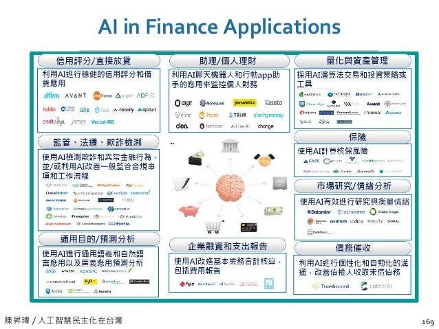 陳昇瑋 / 人工智慧民主化在台灣 AI in Finance Applications 169