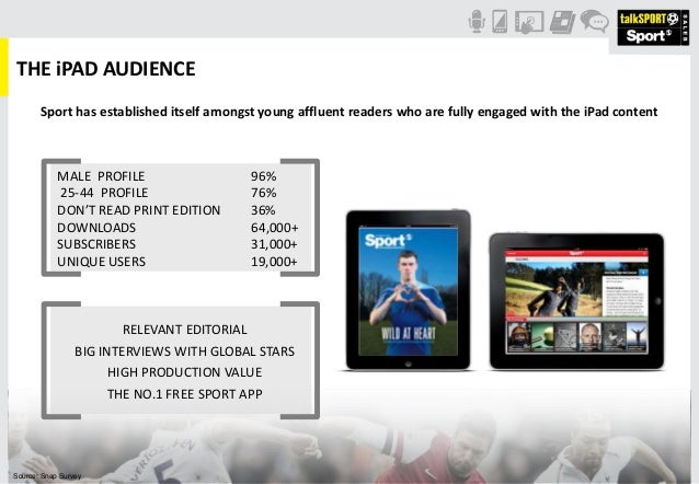 THE iPAD AUDIENCESport has established itself amongst young affluent readers who are fully engaged with the iPad contentSo...