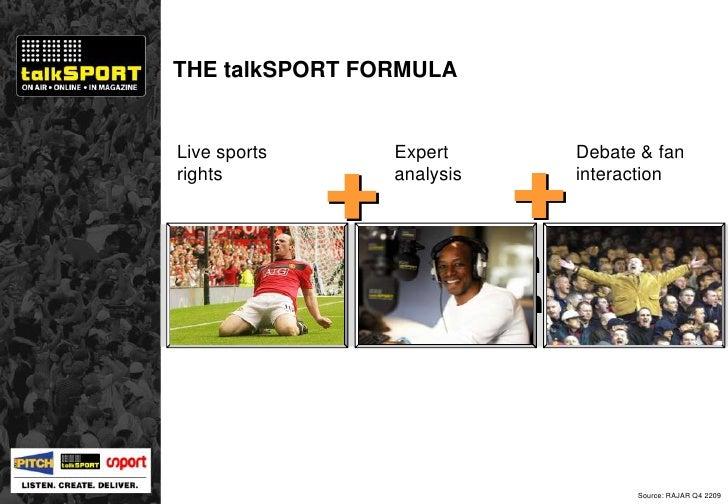 THE talkSPORT FORMULA Expert analysis Debate & fan interaction Live sports rights 2.5 million listeners Source: RAJAR Q4 2...