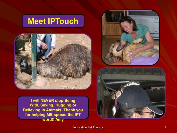 1<br />Meet IPTouch<br />I will NEVER stop Being With, Saving, Hugging or Believing in Animals. Thank you for helping ME s...