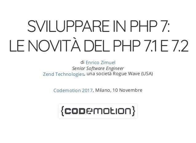 SVILUPPAREINPHP7: LENOVIT�DELPHP7.1E7.2 di Senior Software Engineer , una societ� Rogue Wave (USA) , Milano, 10 Novembre E...