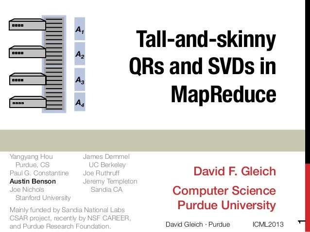 """Tall-and-skinny !QRs and SVDs inMapReduceDavid F. Gleich!Computer Science!Purdue University!A1A4A2A3A4Yangyang Hou """"Purdue..."""