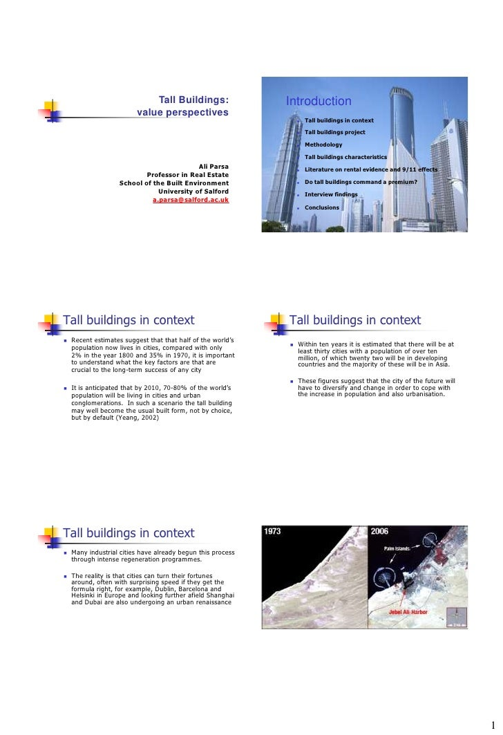 Tall Buildings:                 Introduction                         value perspectives                                   ...