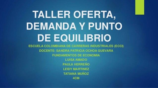 TALLER OFERTA,  DEMANDA Y PUNTO  DE EQUILIBRIO  ESCUELA COLOMBIANA DE CARRERAS INDUSTRIALES (ECCI)  DOCENTE: SANDRA PATRIC...