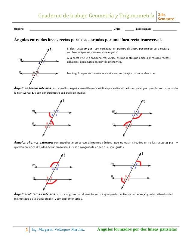 Taller Paralelas Y Una Transversal Teoria Y Taller