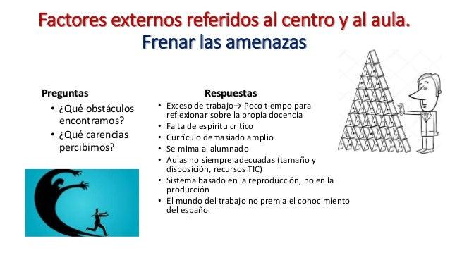 Factores externos referidos al centro y al aula. Frenar las amenazas Preguntas • ¿Qué obstáculos encontramos? • ¿Qué caren...