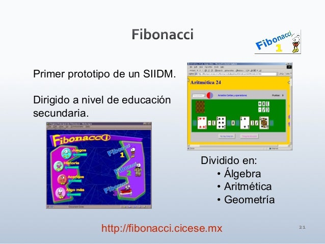 21 Primer prototipo de un SIIDM. Dirigido a nivel de educación secundaria. Dividido en: • Álgebra • Aritmética • Geometría...