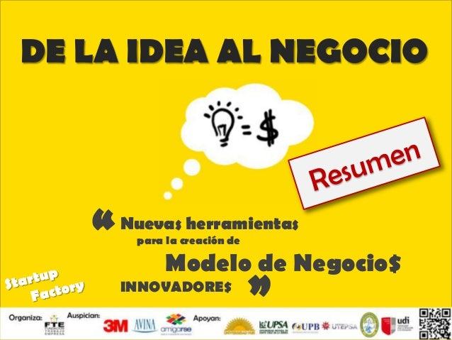 EL CAMINO DE UN STARTUP PARA MARCAR LA DIFERENCIA Walter Javier Méndez DE LA IDEA AL NEGOCIO Nuevas herramientas para la c...