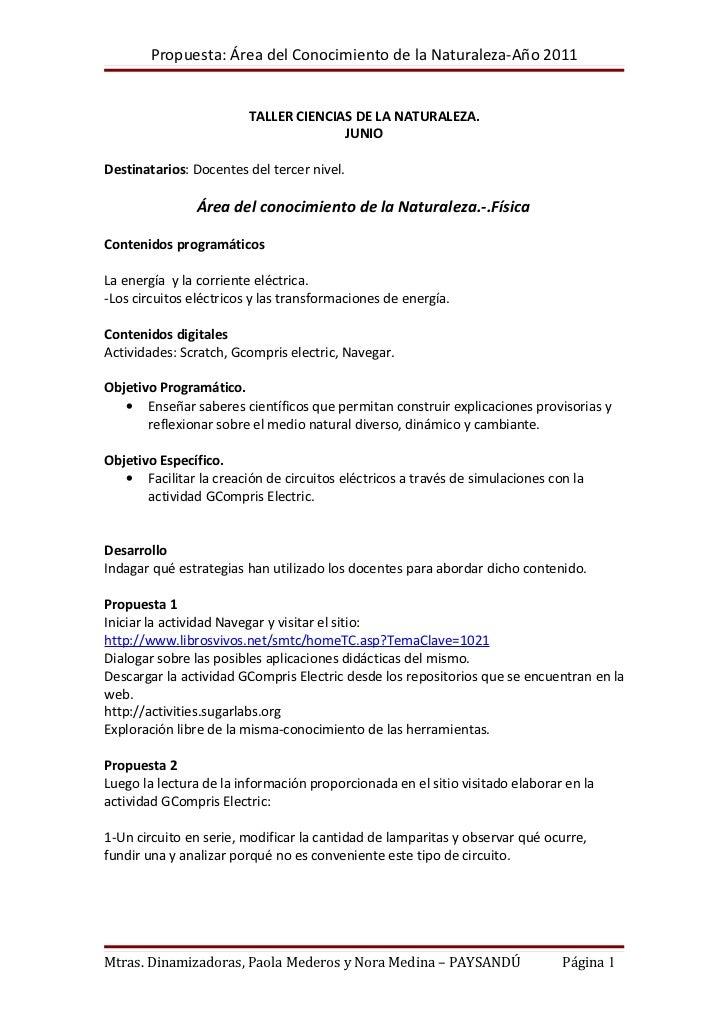 Propuesta: Área del Conocimiento de la Naturaleza-Año 2011                         TALLER CIENCIAS DE LA NATURALEZA.      ...