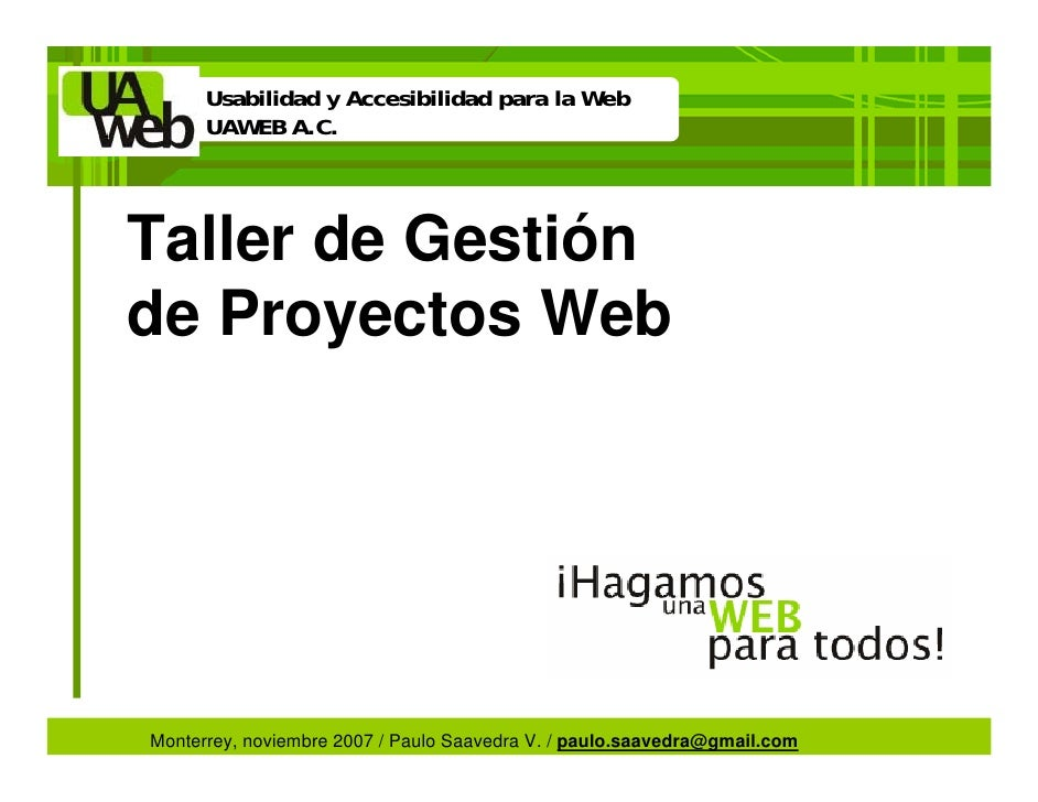 Taller de Gestión de Proyectos Web de clase mundial