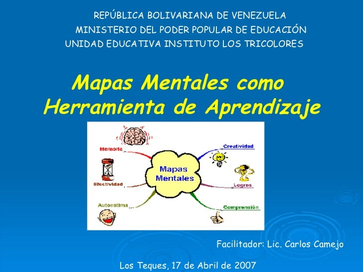 Mapas Mentales como  Herramienta de Aprendizaje REPÚBLICA BOLIVARIANA DE VENEZUELA MINISTERIO DEL PODER POPULAR DE EDUCACI...