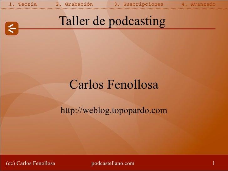 1. Teoría              2. Grabación       3. Suscripciones   4. Avanzado                           Taller de podcasting   ...