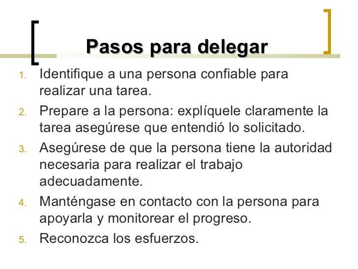 ejemplos de delegar funciones