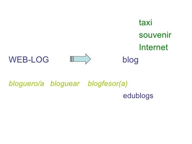 <ul><li>taxi </li></ul><ul><li>souvenir </li></ul><ul><li>Internet </li></ul><ul><li>WEB-LOG  blog </li></ul><ul><li>blogu...