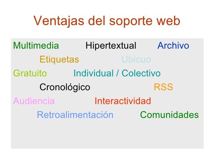 Ventajas del soporte web <ul><li>Multimedia  Hipertextual   Archivo </li></ul><ul><li>Etiquetas   Ubicuo </li></ul><ul><li...