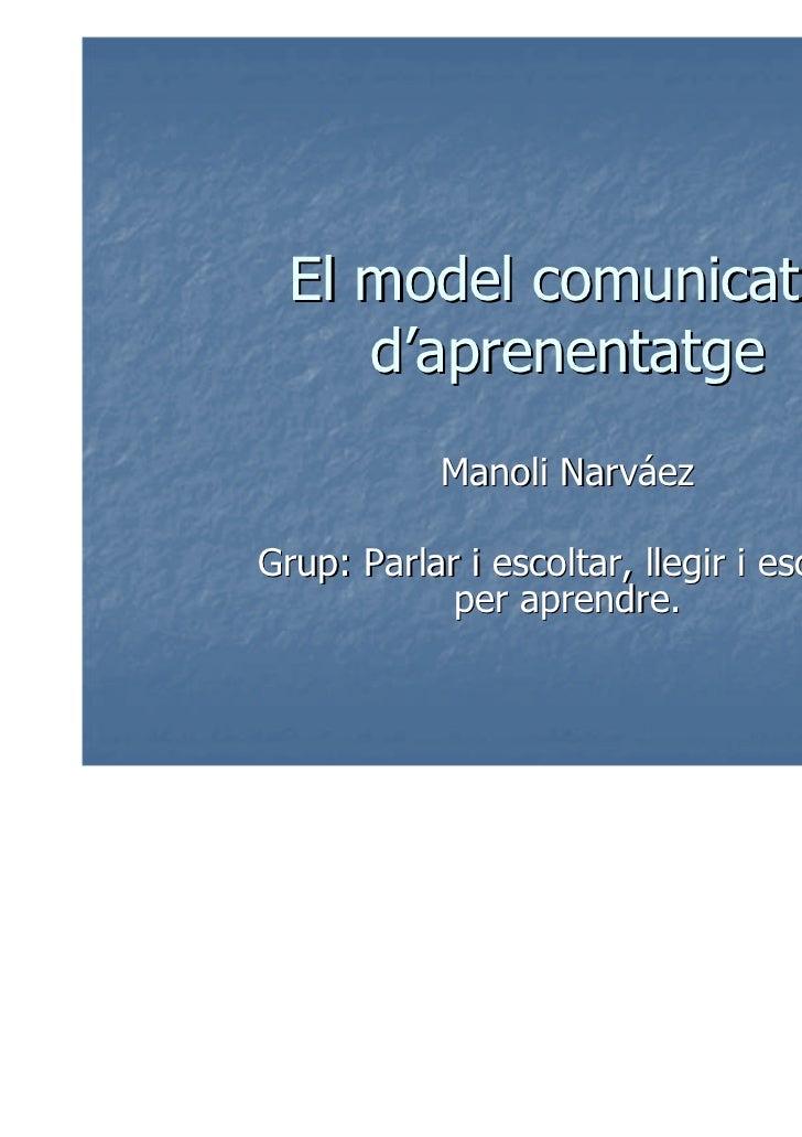 El model comunicatiu     d'aprenentatge            Manoli NarváezGrup: Parlar i escoltar, llegir i escriure            per...
