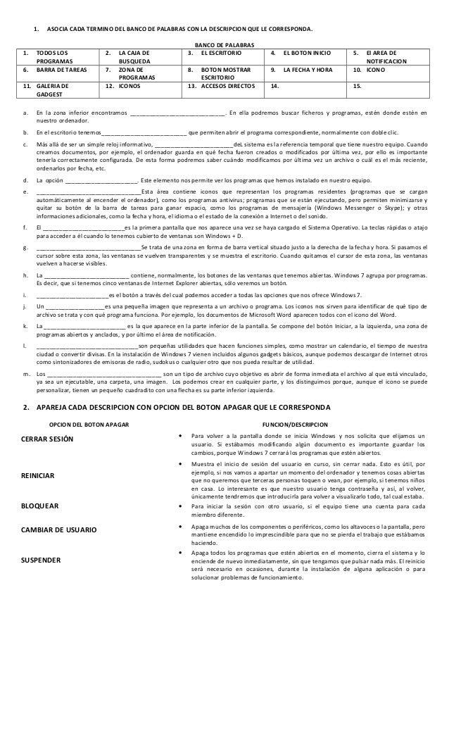 1. ASOCIA CADA TERMINO DEL BANCO DE PALABRAS CON LA DESCRIPCION QUE LE CORRESPONDA. BANCO DE PALABRAS 1. TODOS LOS PROGRAM...