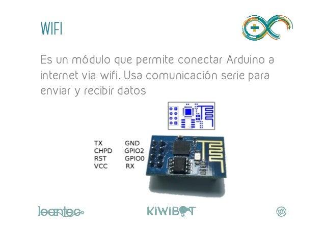 wifi Es un módulo que permite conectar Arduino a internet via wifi. Usa comunicación serie para enviar y recibir datos